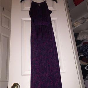 Long halter printed floral dress